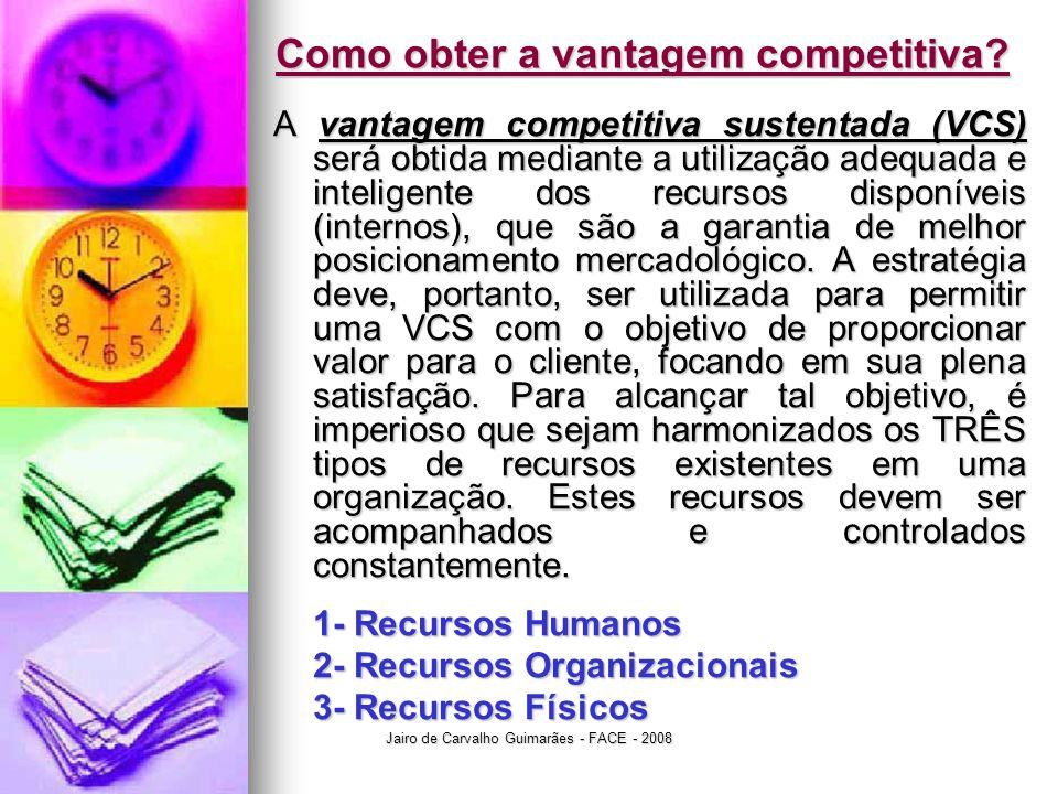 Jairo de Carvalho Guimarães - FACE - 2008 Como obter a vantagem competitiva? A vantagem competitiva sustentada (VCS) será obtida mediante a utilização