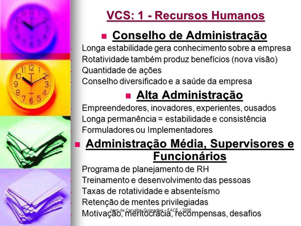 Jairo de Carvalho Guimarães - FACE - 2008 VCS: 1 - Recursos Humanos  Conselho de Administração - Longa estabilidade gera conhecimento sobre a empresa