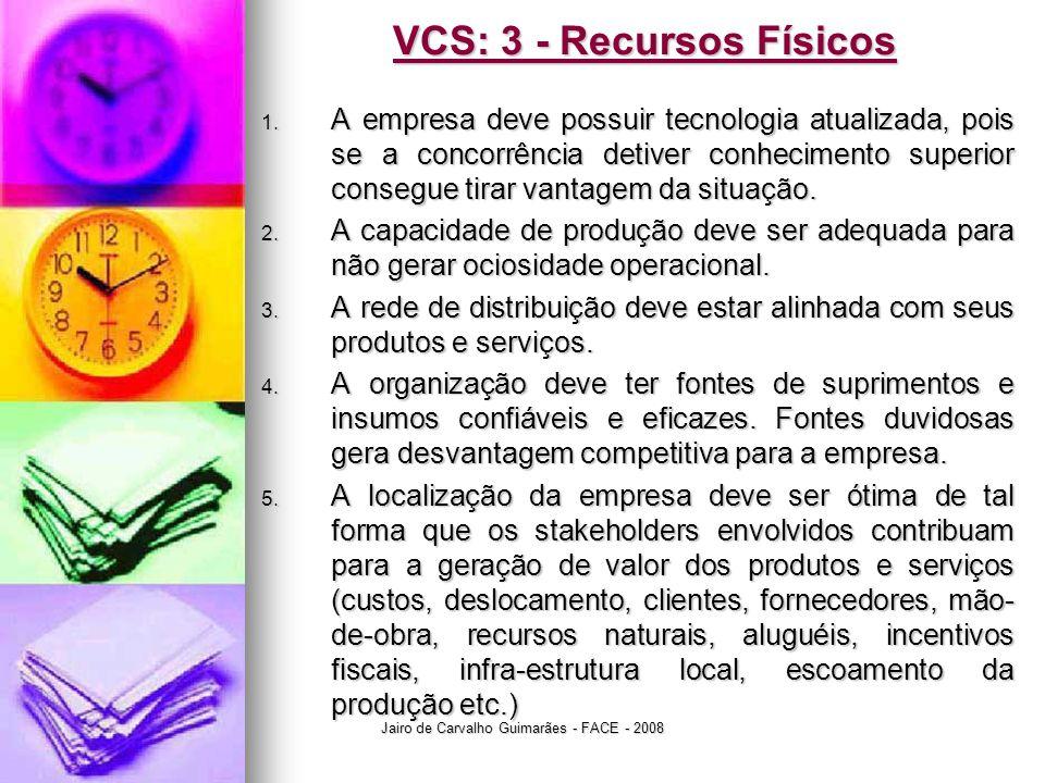 Jairo de Carvalho Guimarães - FACE - 2008 VCS: 3 - Recursos Físicos 1. A empresa deve possuir tecnologia atualizada, pois se a concorrência detiver co