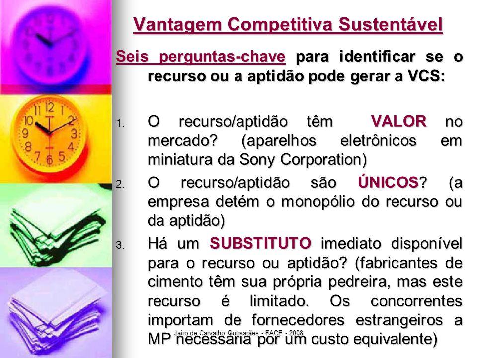 Jairo de Carvalho Guimarães - FACE - 2008 Vantagem Competitiva Sustentável Seis perguntas-chave para identificar se o recurso ou a aptidão pode gerar