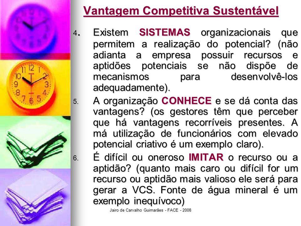 Jairo de Carvalho Guimarães - FACE - 2008 Vantagem Competitiva Sustentável 4. Existem SISTEMAS organizacionais que permitem a realização do potencial?
