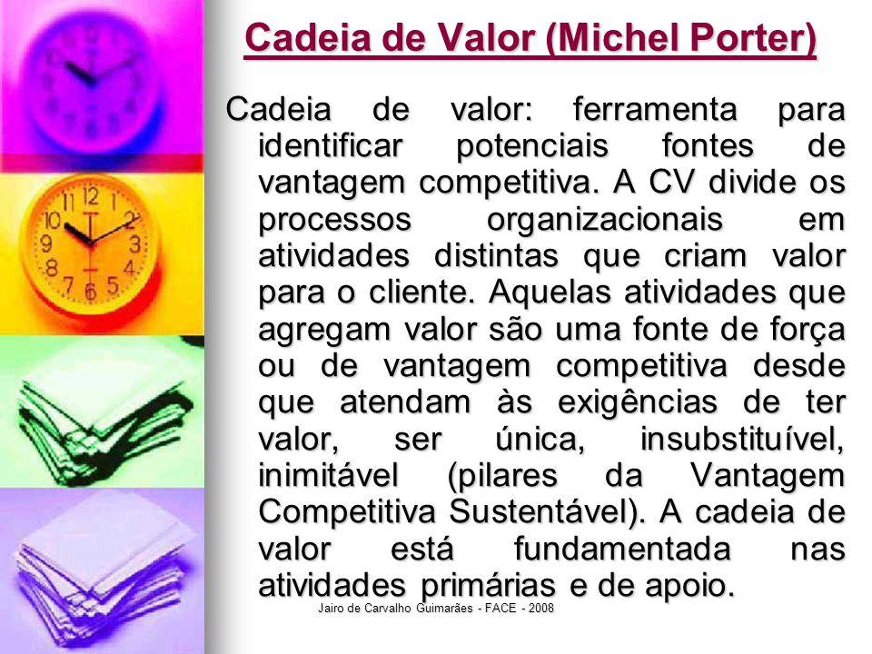 Jairo de Carvalho Guimarães - FACE - 2008 Cadeia de Valor (Michel Porter) Cadeia de valor: ferramenta para identificar potenciais fontes de vantagem c