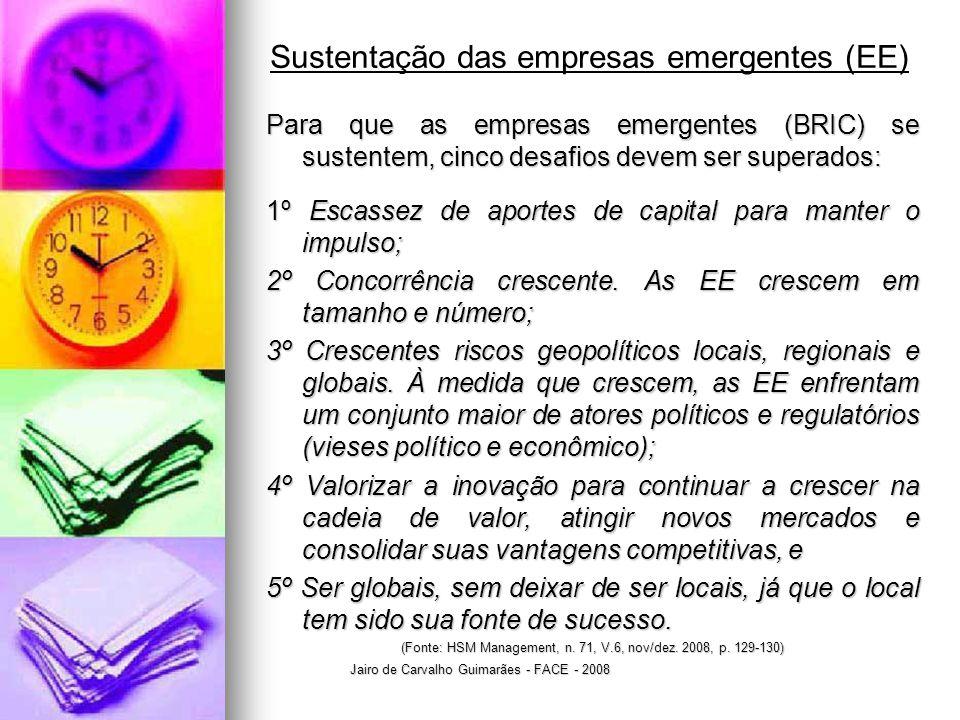 Jairo de Carvalho Guimarães - FACE - 2008 Sustentação das empresas emergentes (EE) Para que as empresas emergentes (BRIC) se sustentem, cinco desafios devem ser superados: 1º Escassez de aportes de capital para manter o impulso; 2º Concorrência crescente.