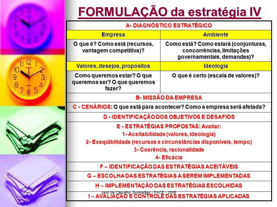 Jairo de Carvalho Guimarães - FACE - 2008 FORMULAÇÃO da estratégia IV A- DIAGNÓSTICO ESTRATÉGICO EmpresaAmbiente O que é? Como está (recursos, vantage