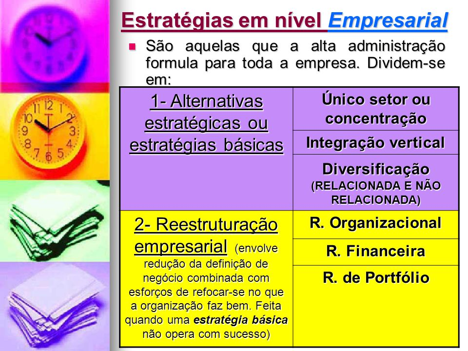 Jairo de Carvalho Guimarães - FACE - 2008 Estratégias em nível Empresarial  São aquelas que a alta administração formula para toda a empresa. Dividem