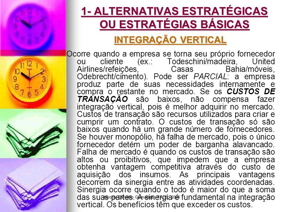 Jairo de Carvalho Guimarães - FACE - 2008 1- ALTERNATIVAS ESTRATÉGICAS OU ESTRATÉGIAS BÁSICAS INTEGRAÇÃO VERTICAL Ocorre quando a empresa se torna seu