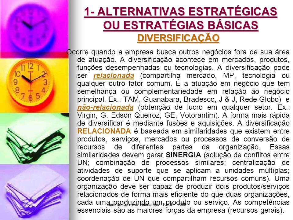 Jairo de Carvalho Guimarães - FACE - 2008 1- ALTERNATIVAS ESTRATÉGICAS OU ESTRATÉGIAS BÁSICAS DIVERSIFICAÇÃO Ocorre quando a empresa busca outros negócios fora de sua área de atuação.