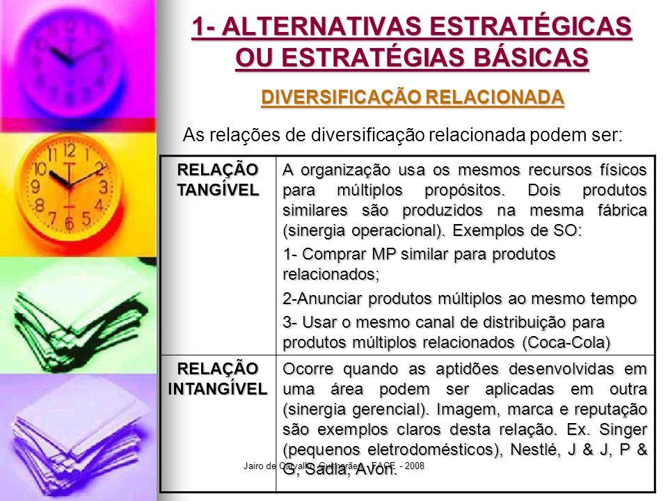 Jairo de Carvalho Guimarães - FACE - 2008 1- ALTERNATIVAS ESTRATÉGICAS OU ESTRATÉGIAS BÁSICAS DIVERSIFICAÇÃO RELACIONADA As relações de diversificação relacionada podem ser: RELAÇÃO TANGÍVEL A organização usa os mesmos recursos físicos para múltiplos propósitos.