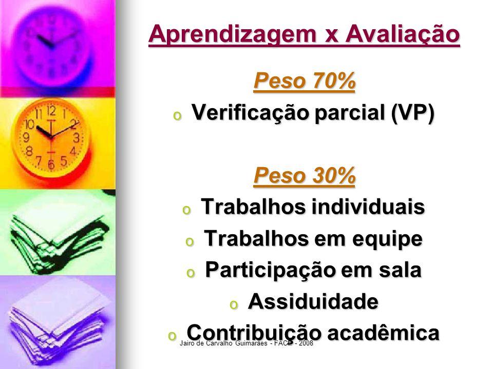Jairo de Carvalho Guimarães - FACE - 2008 Aprendizagem x Avaliação Peso 70% o Verificação parcial (VP) Peso 30% o Trabalhos individuais o Trabalhos em