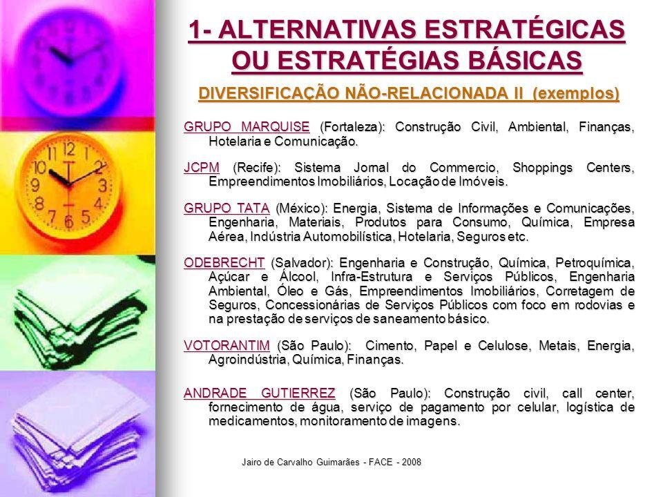 Jairo de Carvalho Guimarães - FACE - 2008 1- ALTERNATIVAS ESTRATÉGICAS OU ESTRATÉGIAS BÁSICAS DIVERSIFICAÇÃO NÃO-RELACIONADA II (exemplos) GRUPO MARQU