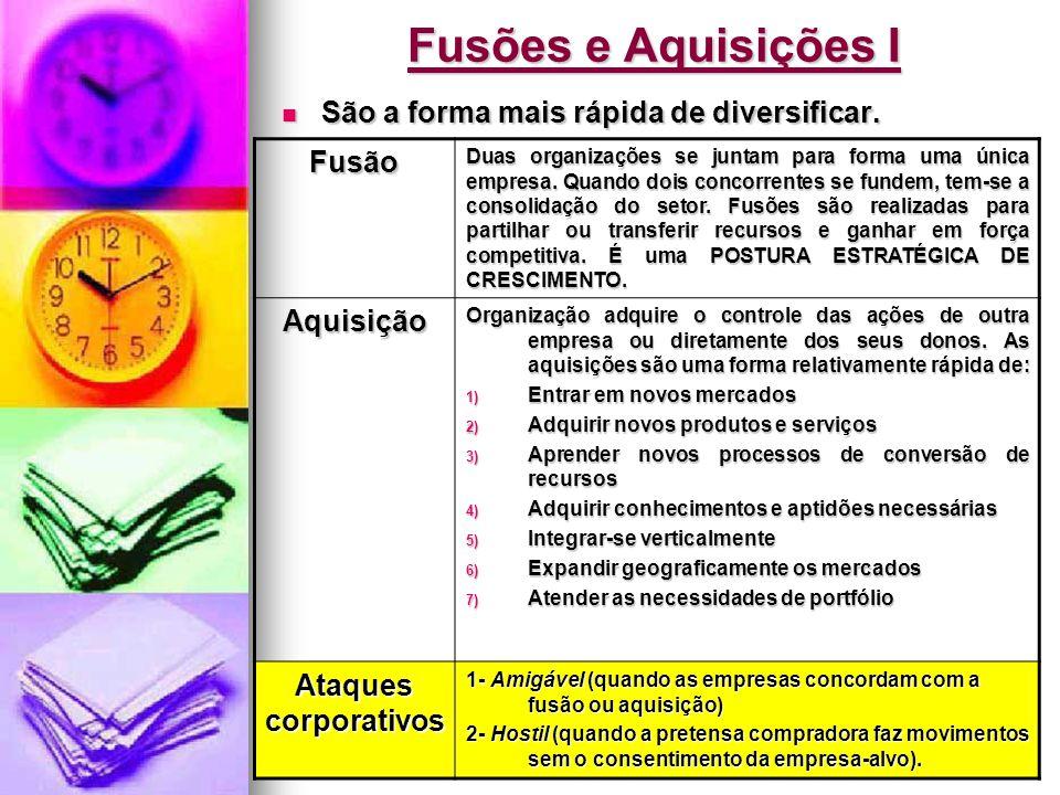 Jairo de Carvalho Guimarães - FACE - 2008 Fusões e Aquisições I  São a forma mais rápida de diversificar. Fusão Duas organizações se juntam para form