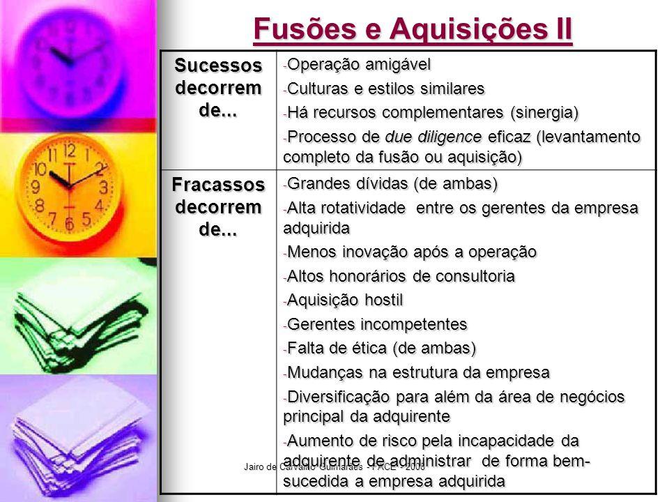 Jairo de Carvalho Guimarães - FACE - 2008 Fusões e Aquisições II Sucessos decorrem de... - Operação amigável - Culturas e estilos similares - Há recur