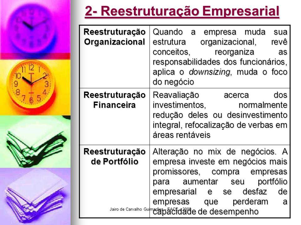 Jairo de Carvalho Guimarães - FACE - 2008 2- Reestruturação Empresarial Reestruturação Organizacional Quando a empresa muda sua estrutura organizacional, revê conceitos, reorganiza as responsabilidades dos funcionários, aplica o downsizing, muda o foco do negócio Reestruturação Financeira Reavaliação acerca dos investimentos, normalmente redução deles ou desinvestimento integral, refocalização de verbas em áreas rentáveis Reestruturação de Portfólio Alteração no mix de negócios.