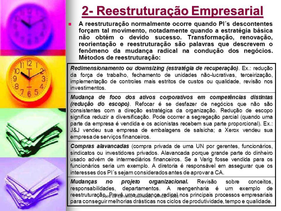 Jairo de Carvalho Guimarães - FACE - 2008 2- Reestruturação Empresarial  A reestruturação normalmente ocorre quando PI´s descontentes forçam tal movi