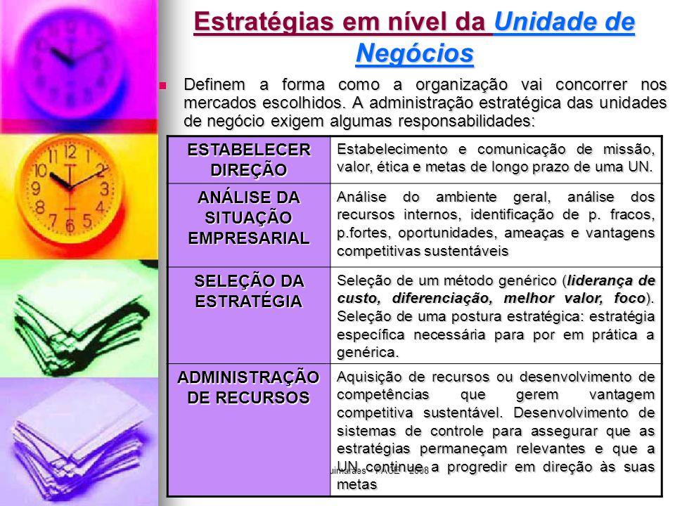 Jairo de Carvalho Guimarães - FACE - 2008 Estratégias em nível da Unidade de Negócios  Definem a forma como a organização vai concorrer nos mercados