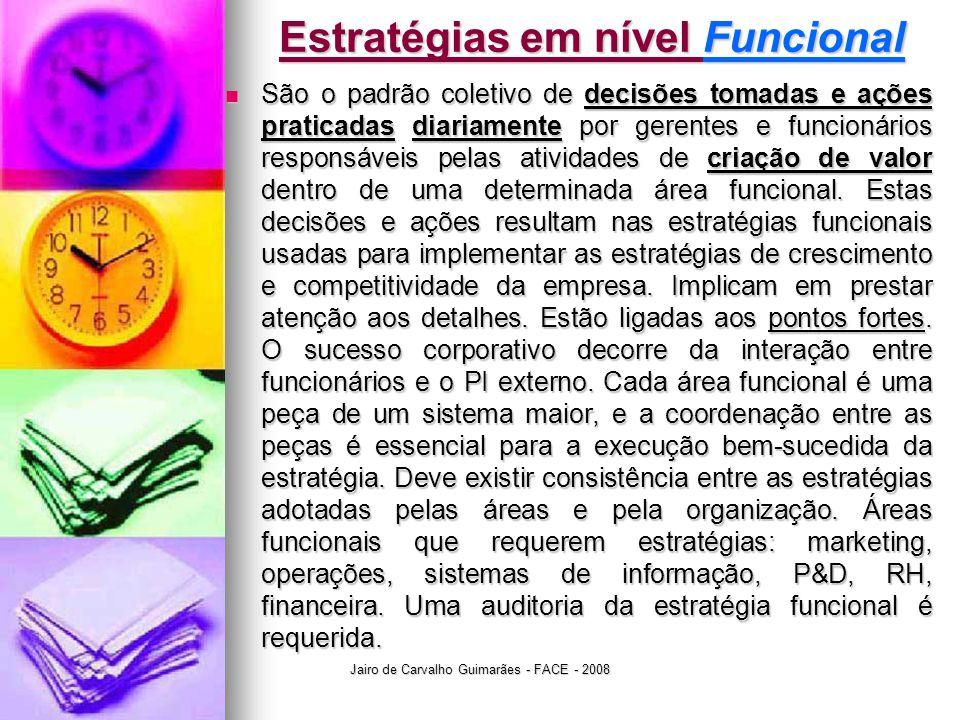 Jairo de Carvalho Guimarães - FACE - 2008 Estratégias em nível Funcional  São o padrão coletivo de decisões tomadas e ações praticadas diariamente por gerentes e funcionários responsáveis pelas atividades de criação de valor dentro de uma determinada área funcional.