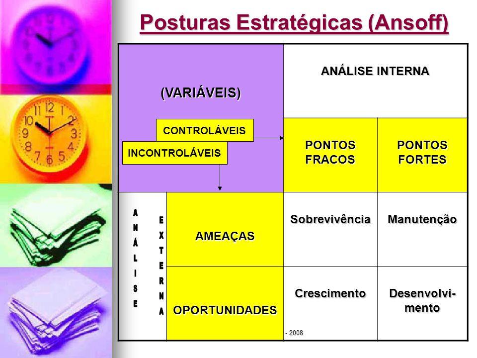 Jairo de Carvalho Guimarães - FACE - 2008 Posturas Estratégicas (Ansoff) (VARIÁVEIS) ANÁLISE INTERNA PONTOS FRACOS PONTOS FORTES AMEAÇASSobrevivênciaM