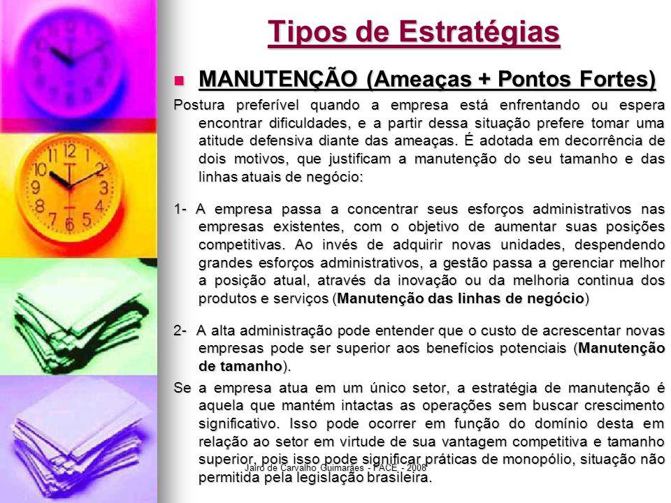 Jairo de Carvalho Guimarães - FACE - 2008 Tipos de Estratégias  MANUTENÇÃO (Ameaças + Pontos Fortes) Postura preferível quando a empresa está enfrent