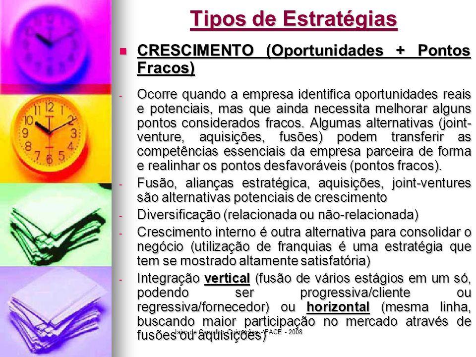 Jairo de Carvalho Guimarães - FACE - 2008 Tipos de Estratégias  CRESCIMENTO (Oportunidades + Pontos Fracos) - Ocorre quando a empresa identifica opor