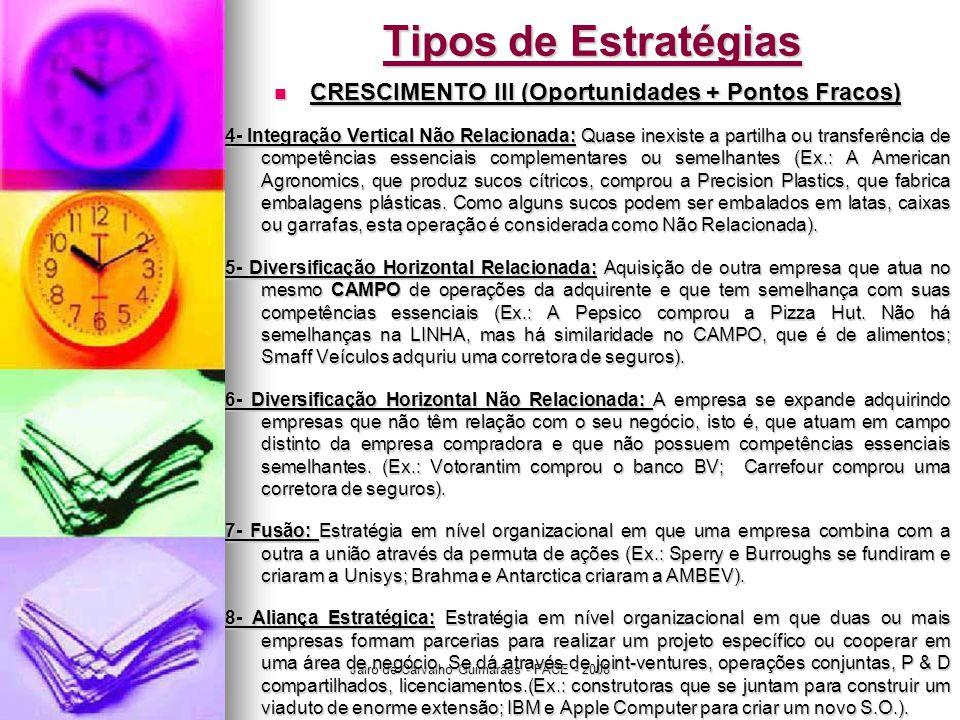 Jairo de Carvalho Guimarães - FACE - 2008 Tipos de Estratégias  CRESCIMENTO III (Oportunidades + Pontos Fracos) 4- Integração Vertical Não Relacionad