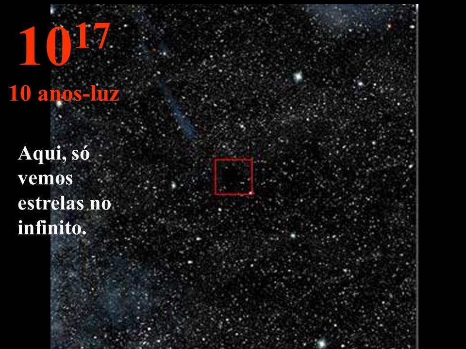 Aqui mudamos para outra grandeza; o ano-luz . A estrela sol é observada bem pequena.