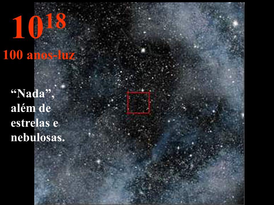 Aqui, só vemos estrelas no infinito. 10 17 10 anos-luz