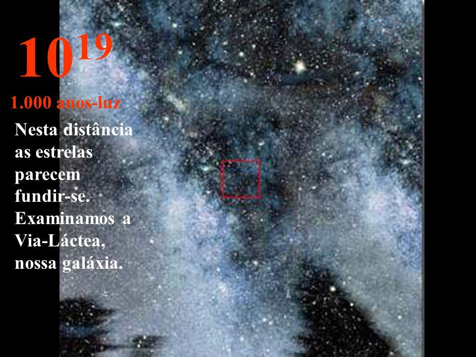 Nada , além de estrelas e nebulosas. 10 18 100 anos-luz