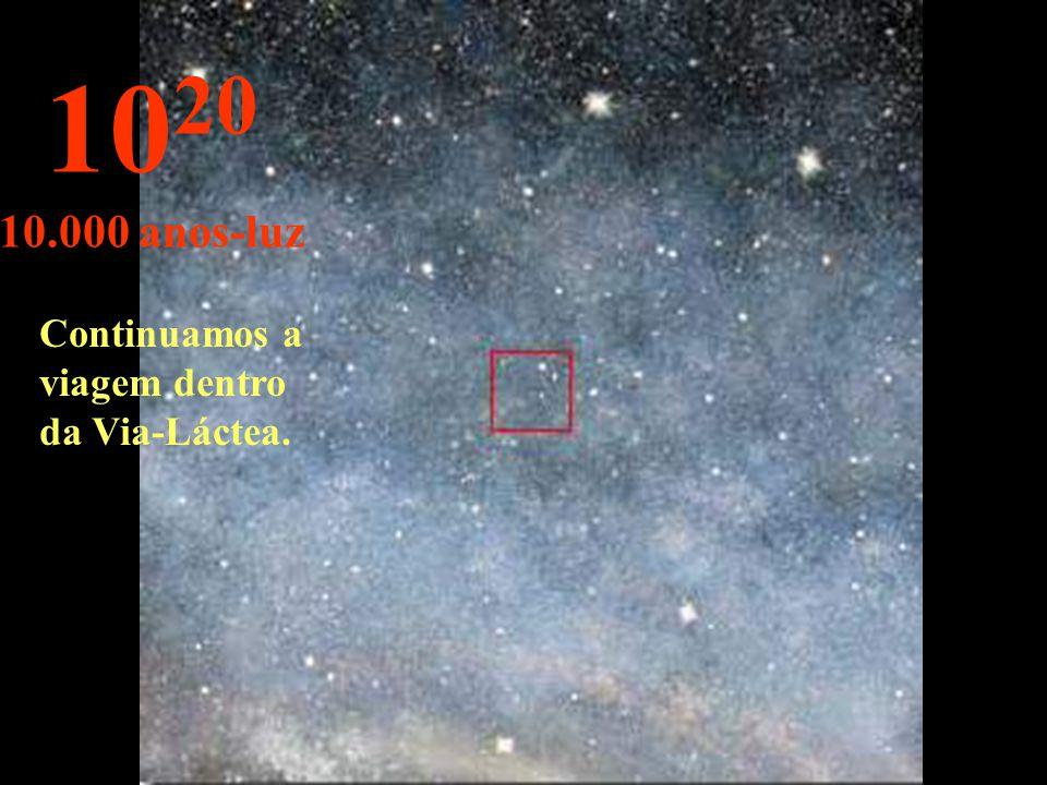 10 19 1.000 anos-luz Nesta distância as estrelas parecem fundir-se.