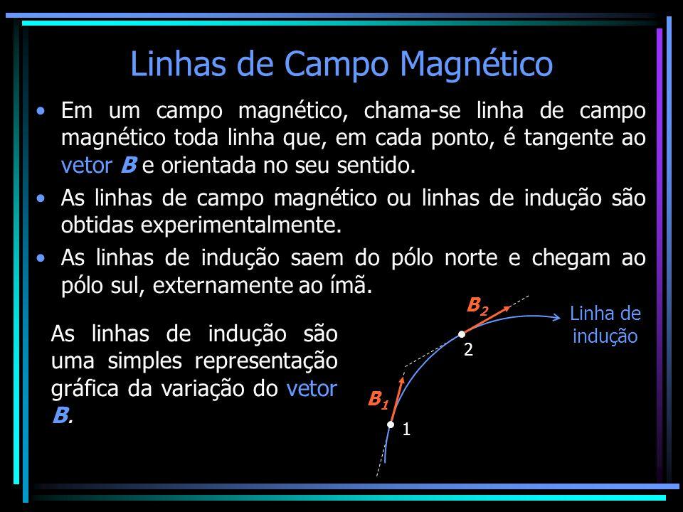 Linhas de Campo Magnético •Em um campo magnético, chama-se linha de campo magnético toda linha que, em cada ponto, é tangente ao vetor B e orientada n