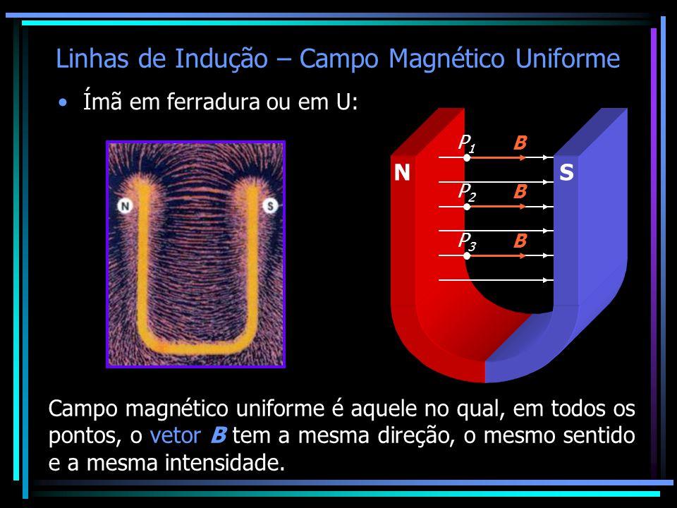 Linhas de Indução – Campo Magnético Uniforme •Ímã em ferradura ou em U: Campo magnético uniforme é aquele no qual, em todos os pontos, o vetor B tem a