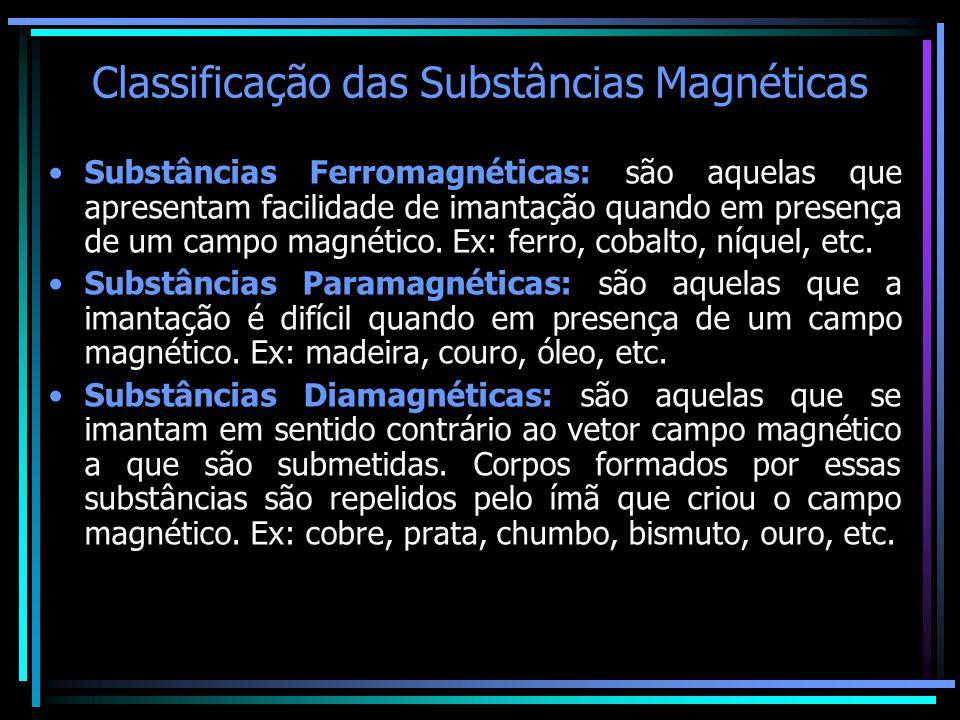 Classificação das Substâncias Magnéticas •Substâncias Ferromagnéticas: são aquelas que apresentam facilidade de imantação quando em presença de um cam