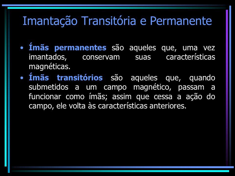 Imantação Transitória e Permanente •Ímãs permanentes são aqueles que, uma vez imantados, conservam suas características magnéticas. •Ímãs transitórios