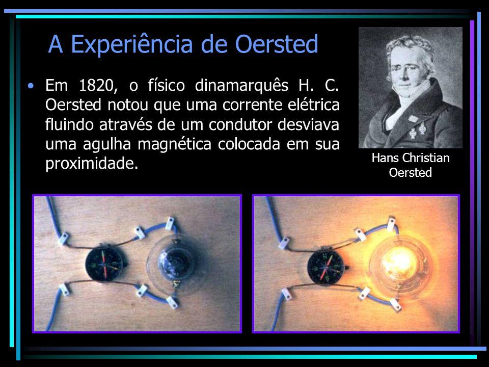 A Experiência de Oersted •Em 1820, o físico dinamarquês H. C. Oersted notou que uma corrente elétrica fluindo através de um condutor desviava uma agul