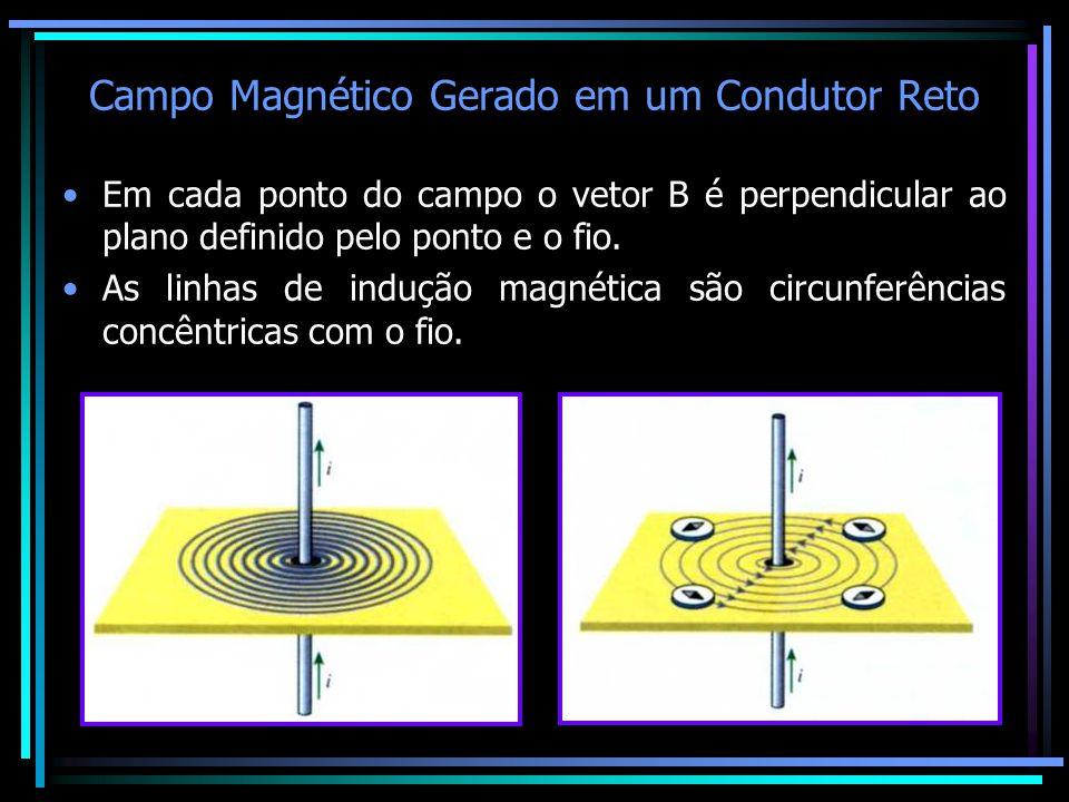 Campo Magnético Gerado em um Condutor Reto •Em cada ponto do campo o vetor B é perpendicular ao plano definido pelo ponto e o fio. •As linhas de induç