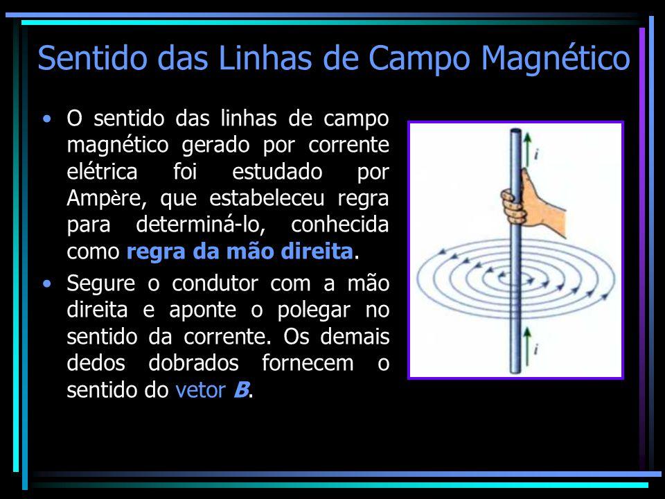 Sentido das Linhas de Campo Magnético •O sentido das linhas de campo magnético gerado por corrente elétrica foi estudado por Amp è re, que estabeleceu