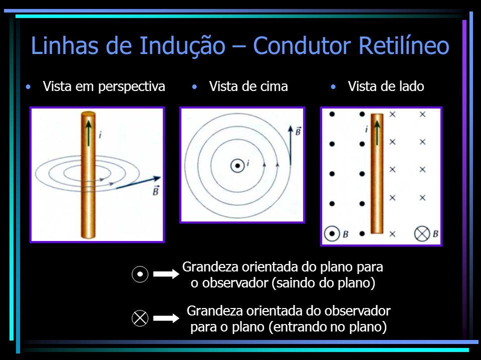 Linhas de Indução – Condutor Retilíneo •Vista em perspectiva•Vista de cima•Vista de lado Grandeza orientada do plano para o observador (saindo do plan