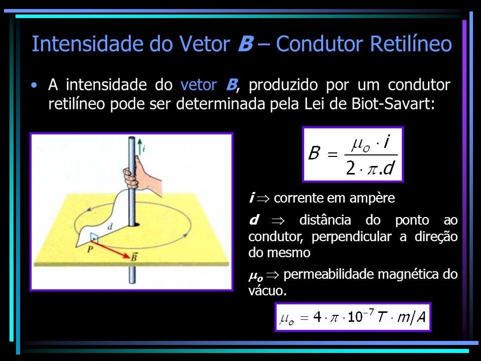 Intensidade do Vetor B – Condutor Retilíneo •A intensidade do vetor B, produzido por um condutor retilíneo pode ser determinada pela Lei de Biot-Savar