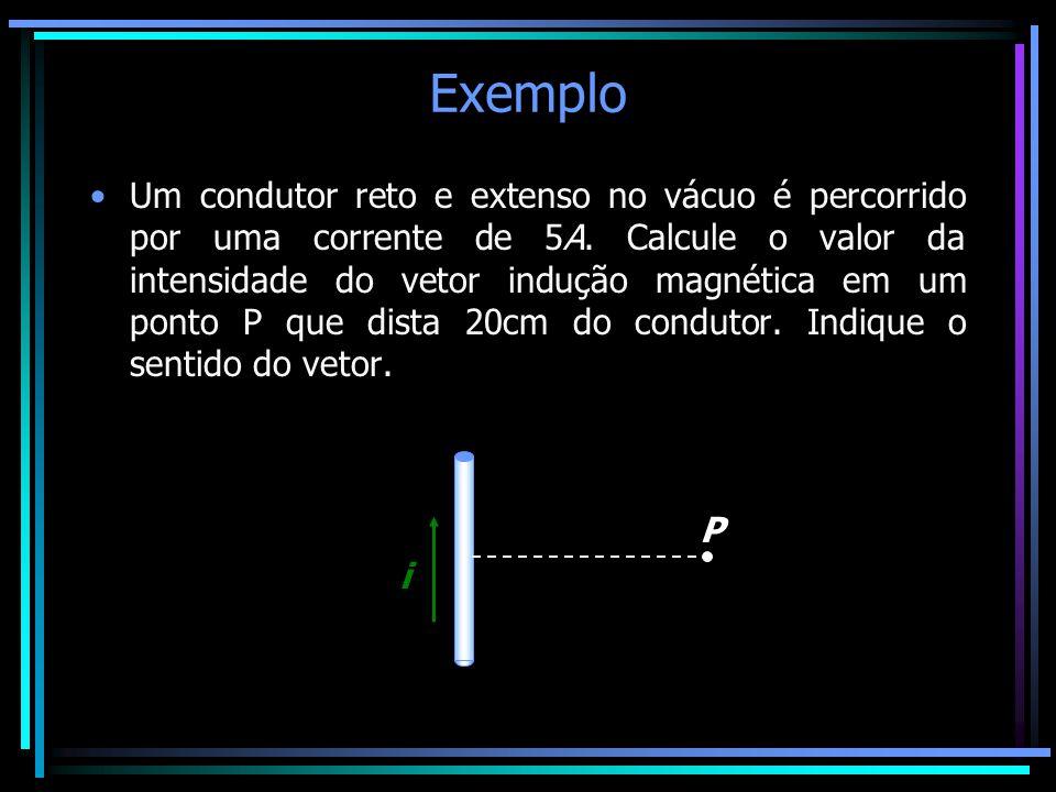 Exemplo •Um condutor reto e extenso no vácuo é percorrido por uma corrente de 5A. Calcule o valor da intensidade do vetor indução magnética em um pont