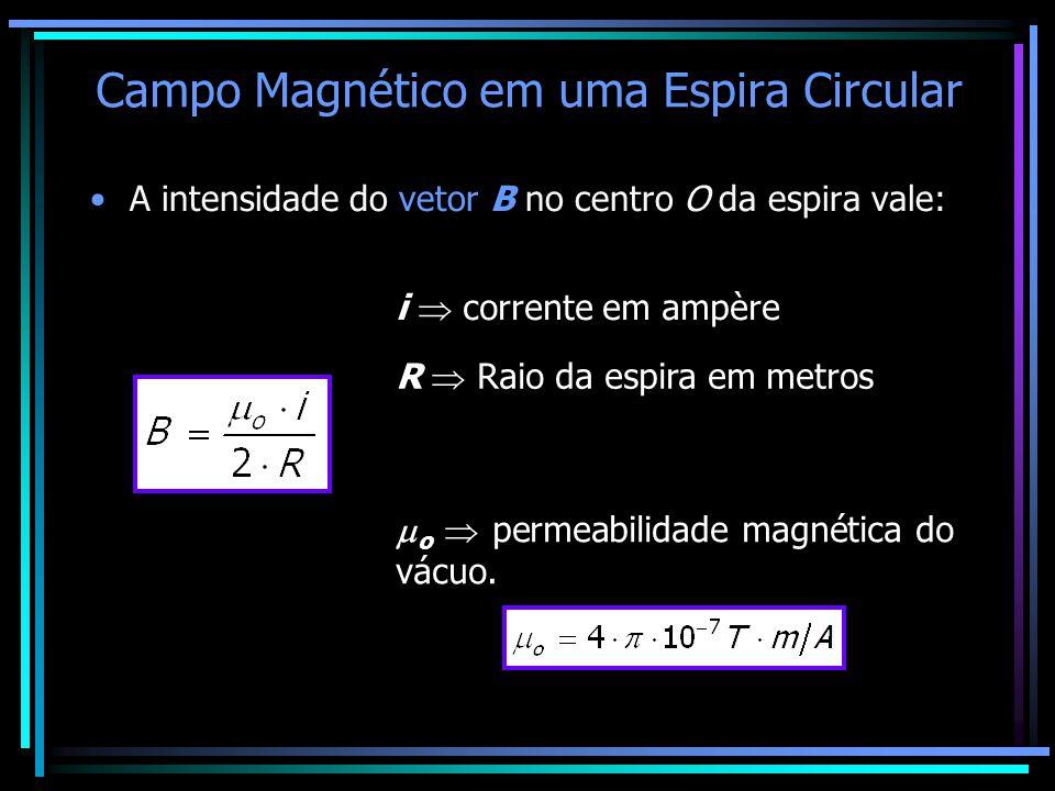 Campo Magnético em uma Espira Circular •A intensidade do vetor B no centro O da espira vale: i  corrente em ampère R  Raio da espira em metros  o 