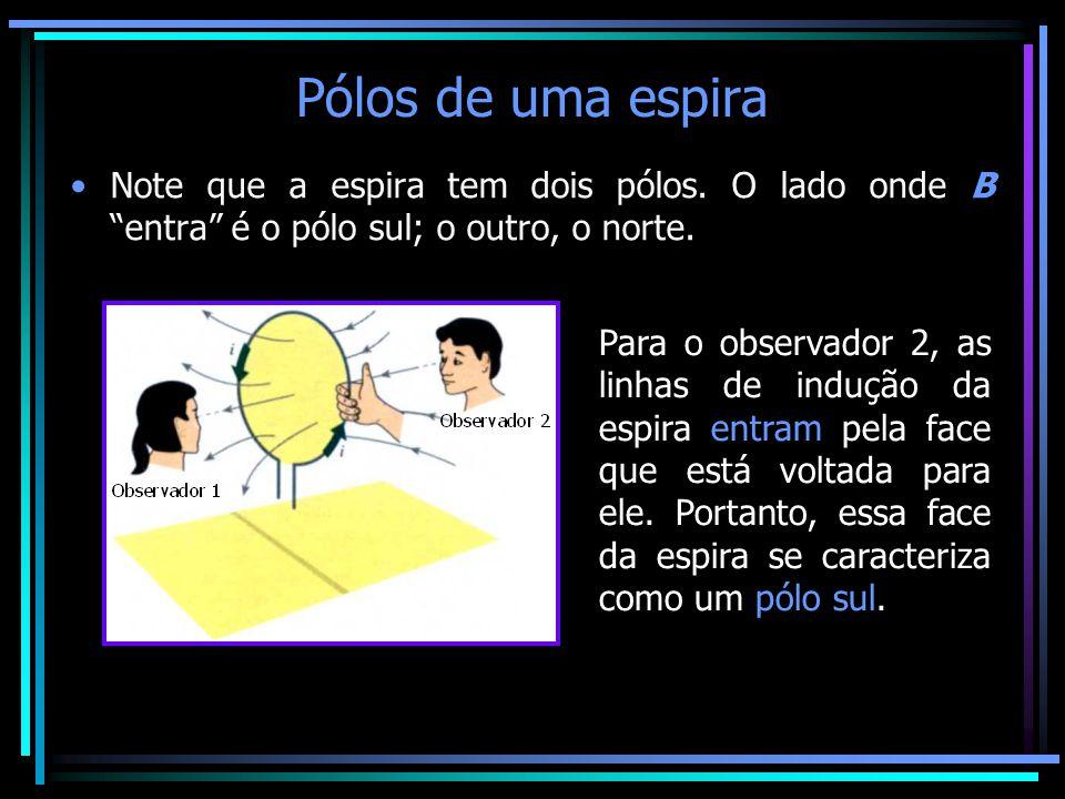 """Pólos de uma espira •Note que a espira tem dois pólos. O lado onde B """"entra"""" é o pólo sul; o outro, o norte. Para o observador 1, as linhas de indução"""
