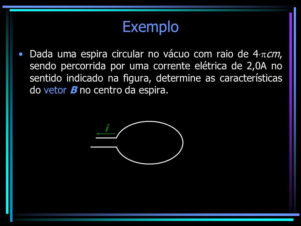 Exemplo •Dada uma espira circular no vácuo com raio de 4  cm, sendo percorrida por uma corrente elétrica de 2,0A no sentido indicado na figura, dete