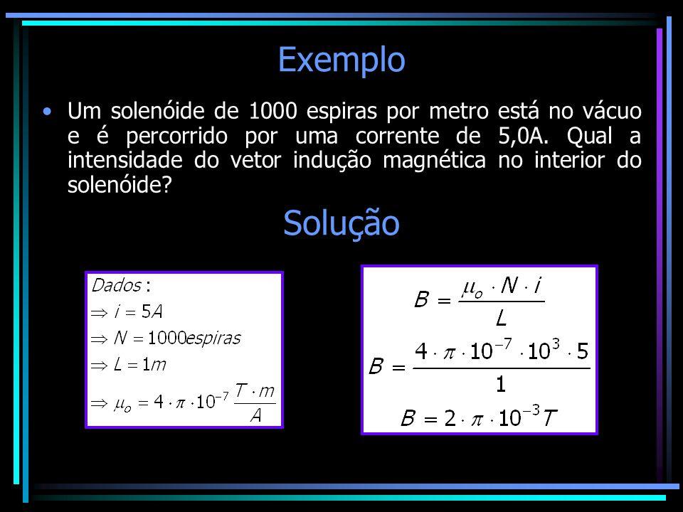 Exemplo •Um solenóide de 1000 espiras por metro está no vácuo e é percorrido por uma corrente de 5,0A. Qual a intensidade do vetor indução magnética n