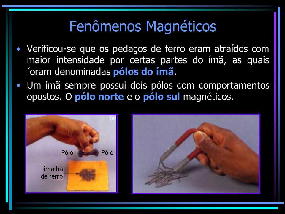 Fenômenos Magnéticos •Verificou-se que os pedaços de ferro eram atraídos com maior intensidade por certas partes do ímã, as quais foram denominadas pó