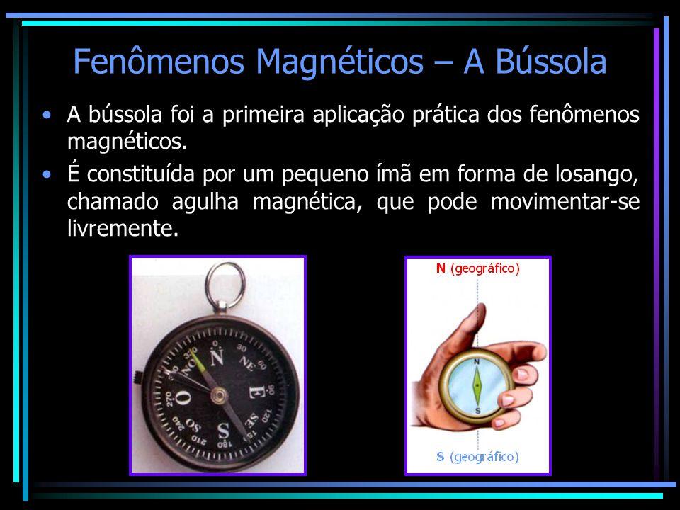 Fenômenos Magnéticos – A Bússola •A bússola foi a primeira aplicação prática dos fenômenos magnéticos. •É constituída por um pequeno ímã em forma de l