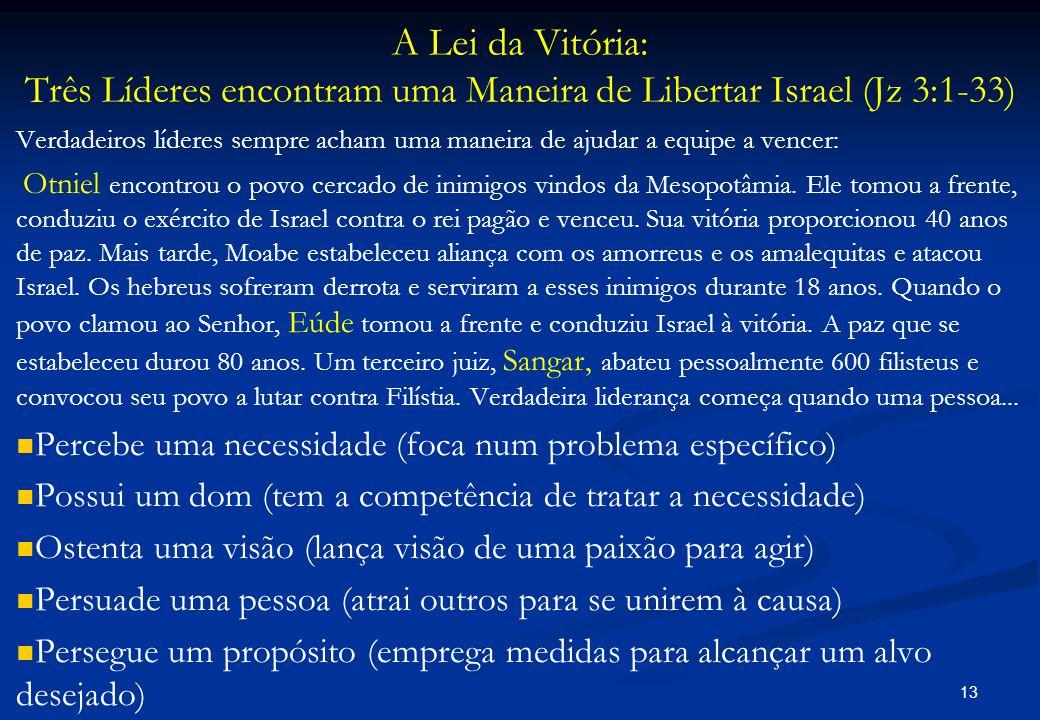 A Lei da Vitória: Três Líderes encontram uma Maneira de Libertar Israel (Jz 3:1-33) Verdadeiros líderes sempre acham uma maneira de ajudar a equipe a