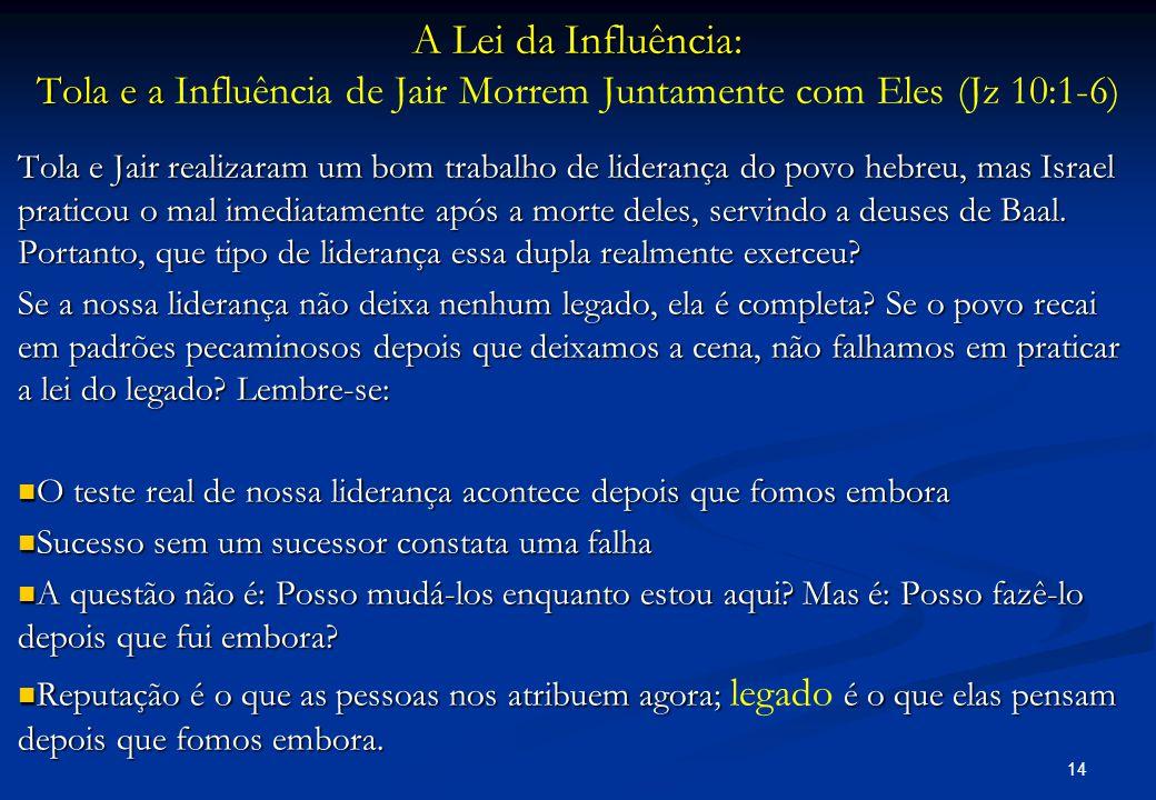 A Lei da Influência: Tola e a A Lei da Influência: Tola e a Influência de Jair Morrem Juntamente com Eles (Jz 10:1-6) Tola e Jair realizaram um bom tr