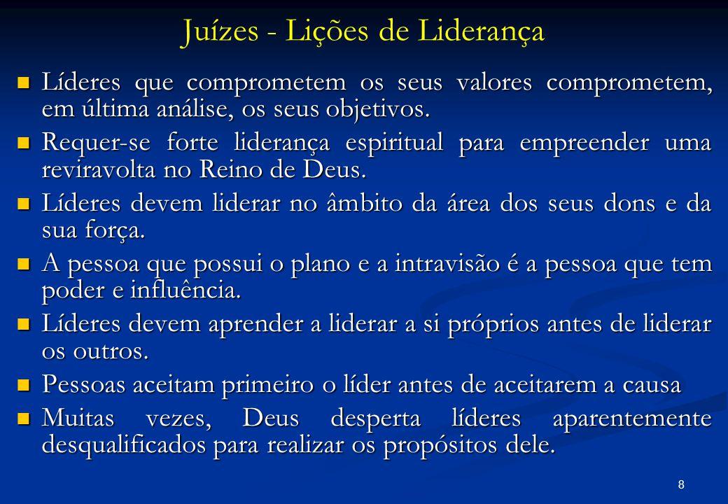 Juízes - Lições de Liderança  Líderes que comprometem os seus valores comprometem, em última análise, os seus objetivos.  Requer-se forte liderança