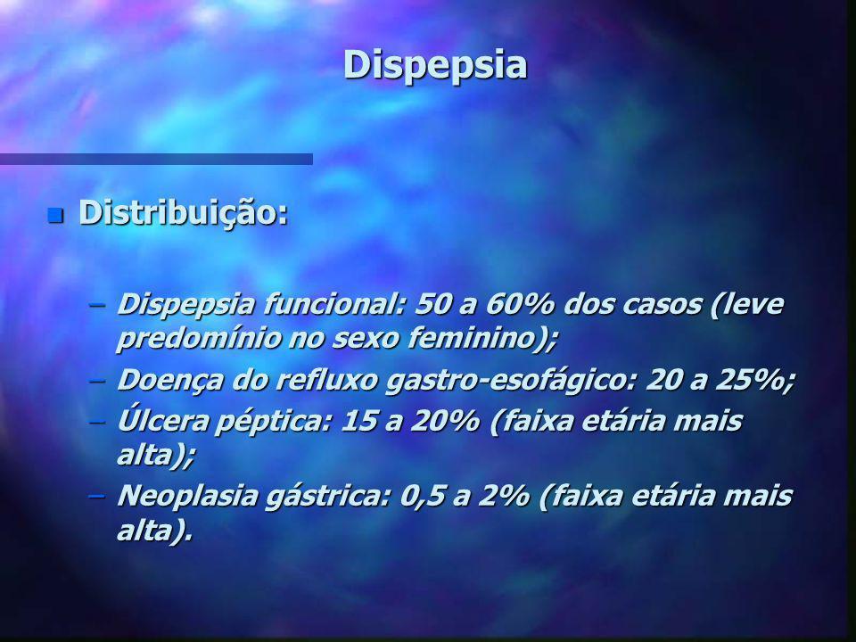 Dispepsia n Distribuição: –Dispepsia funcional: 50 a 60% dos casos (leve predomínio no sexo feminino); –Doença do refluxo gastro-esofágico: 20 a 25%;