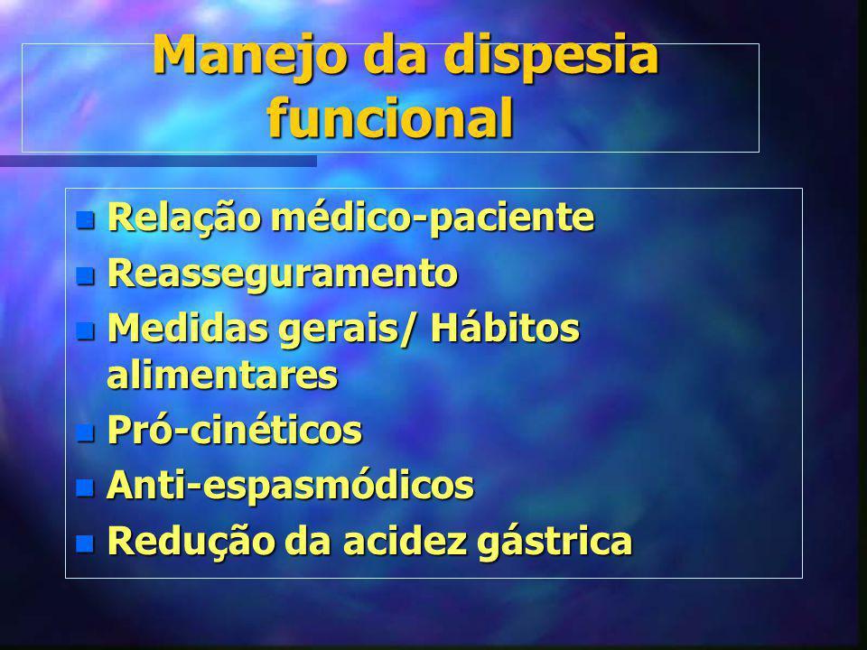 Manejo da dispesia funcional Manejo da dispesia funcional n Relação médico-paciente n Reasseguramento n Medidas gerais/ Hábitos alimentares n Pró-ciné
