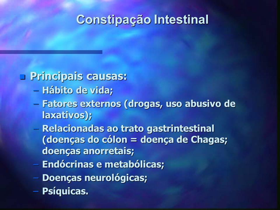 Constipação Intestinal n Principais causas: –Hábito de vida; –Fatores externos (drogas, uso abusivo de laxativos); –Relacionadas ao trato gastrintesti